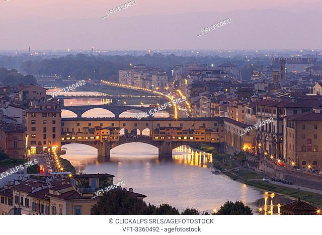 Ponte Vecchio (Old Bridge) with Arno River at sunset from Piazzale Michelangelo, Florence, Tuscany, Italy
