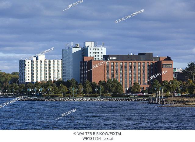 Canada, Nova Scotia, Sydney, city skyline, dawn