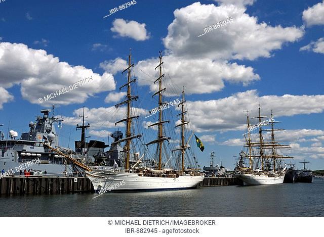 Tall ships Cisne Branco and Gorch Fock in the Tirpitzhafen harbour, Kiel Week 2008, Kiel, Schleswig-Holstein, Germany, Europe