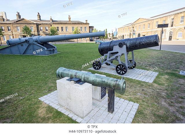 England, London, Woolwich, Display of Historical Guns