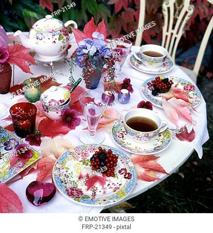 Laid tea table outdoors
