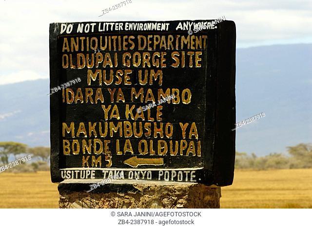 Olduvai Gorge Archaeological Museum sign, Ngorongoro Conservation Area, Tanzania, East Africa
