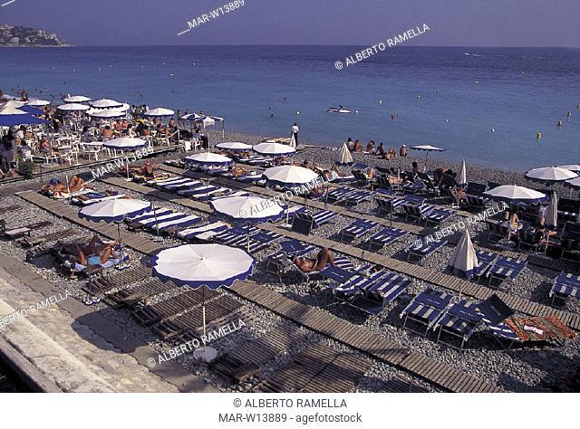 france, nice, beach-umbrella on the shore