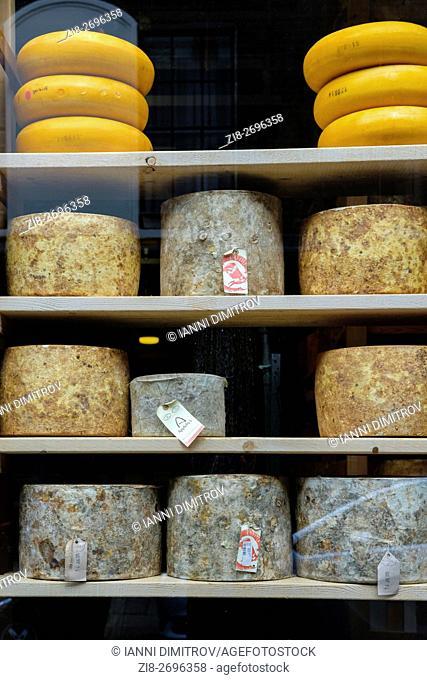 UK,London,Borough MarketArtisan cheese wheels on sale