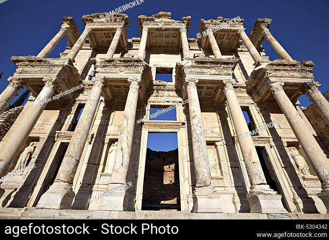 The Library of Celsus is an ancient building in Ephesus, Izmir, Turkey, Asia