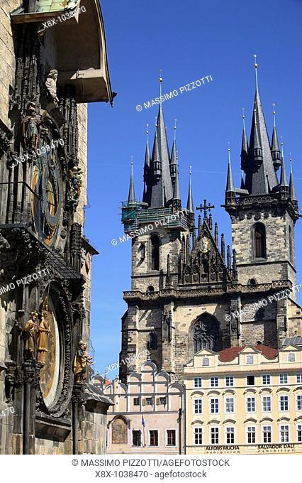 Tyn Church and the Astronomical Clock Tower, Prague, CZ