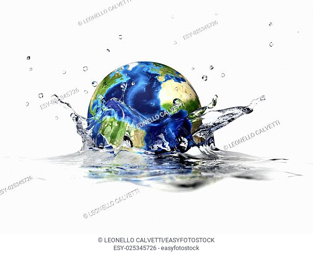 Planet Earth, falling into clear water, forming a crown splash. With depth of field. 3 D digital rendering on white background