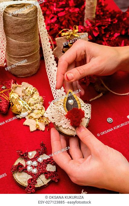 Christmas toys and decorations are handmade by women's hands