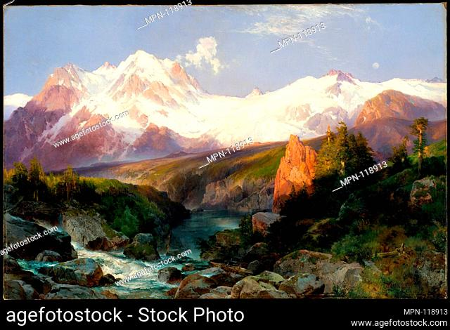 The Teton Range. Artist: Thomas Moran (American (born England), Bolton, Lancashire 1837-1926 Santa Barbara, California); Date: 1897; Medium: Oil on canvas;...