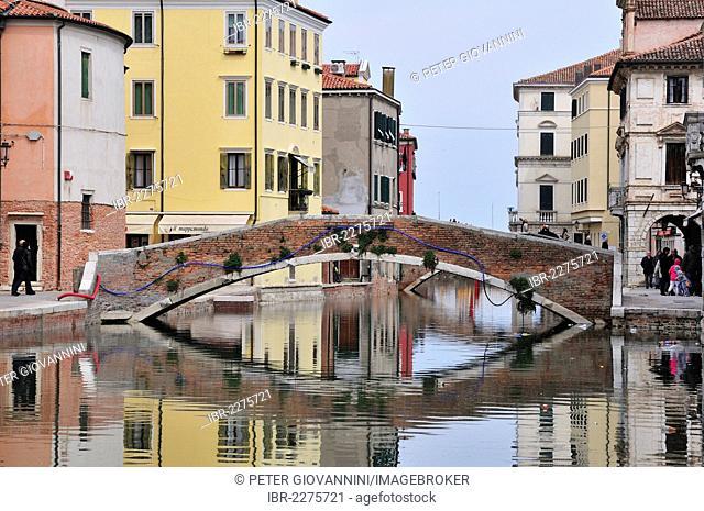 Bridge across a channel, Chioggia, Veneto, Italy, Europe