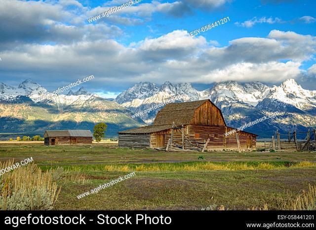 View of Mormon Row near Jackson Wyoming