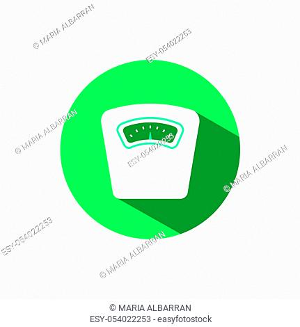 Weight scale icon with shadow on a green circle. Flat color vector pharmacy illustration
