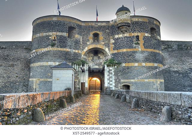 The entrance gate to Château d'Angers is a castle in the city of Angers in the Loire Valley, in the département of Maine-et-Loire, in France