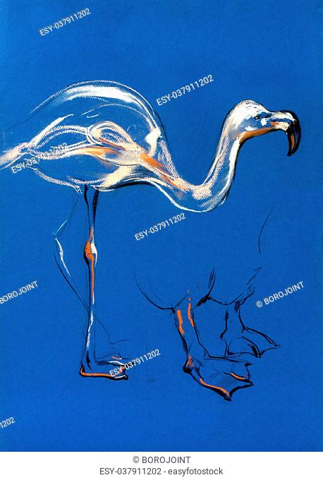 Original pastel and hand drawn painting or working sketch of flamingo.Free composition