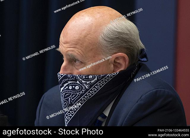 United States Representative Louie Gohmert (Representative of Texas) uses a face covering during the US House Natural Resources Committee hearing on 'The US...
