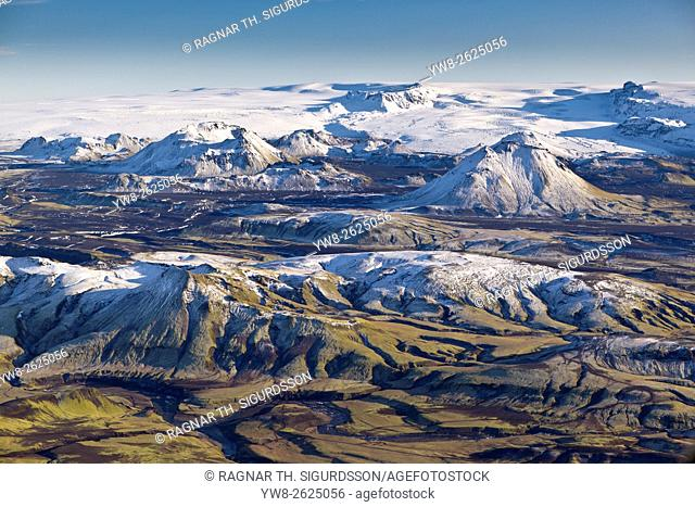 Aerial of riverbeds with moss and mountains, Emstrur Area. Iceland