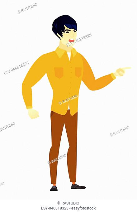 Furious businessman screaming and pointing his finger to the right. Full length of aggressive businessman screaming and shaking his finger