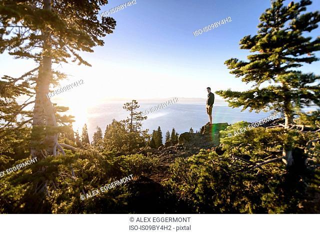 Man on peak at sunrise, Lake Tahoe, Tahoe City, California, United States