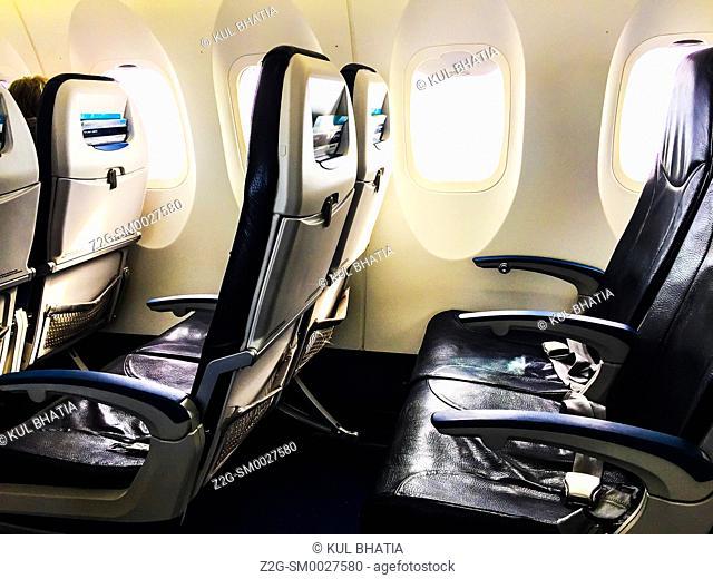 Inside a small, empty, plane, Ontario, Canada