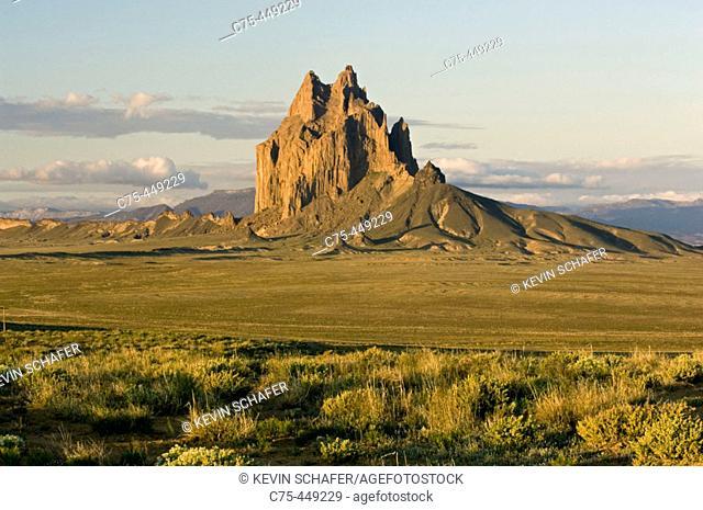 Shiprock at sunrise, Exposed Volcanic Plug 7178 feet high, Northern New Mexico, USA