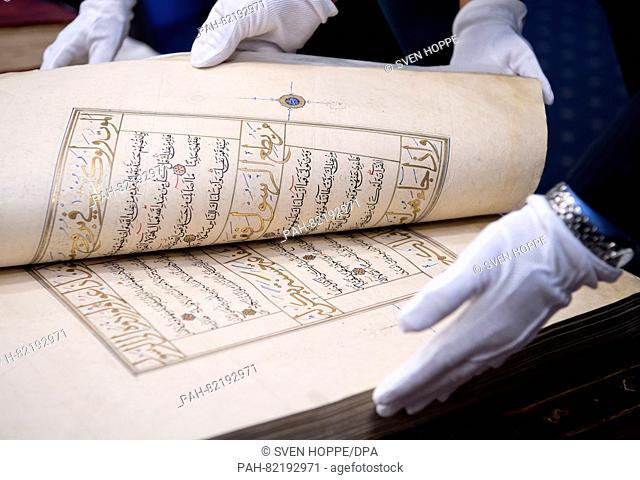 A Quran from Iran (ca. 1450) seen at the State Office of Criminal Investigations (LKA) in Munich, Germany, 21 July 2016. The State Office of Criminal...