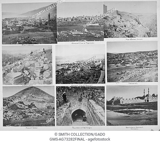 Collection of nine black and white pictures showing different sites in the Middle East: Sea Tiberius, General view of Ramleh, Mar Saba Convent, Capharnaum
