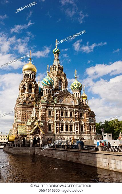 Russia, Saint Petersburg, Center, Church of the Saviour of Spilled Blood on Griboedov Canal, exterior