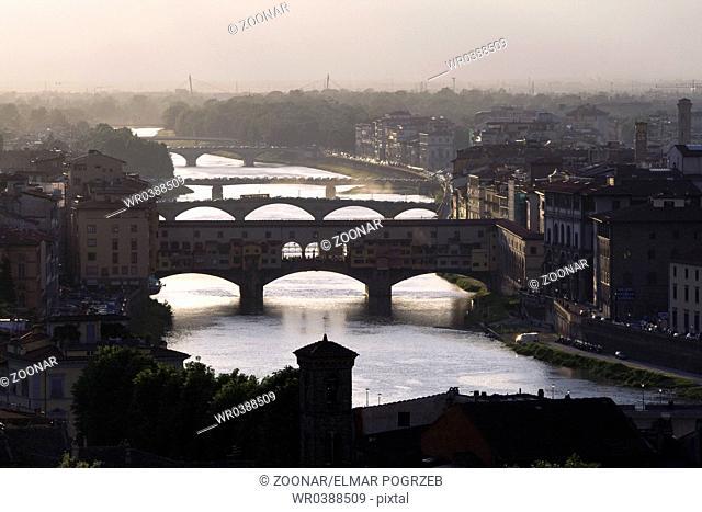 Bridges over Arno, Florence, Tuscany, Italy