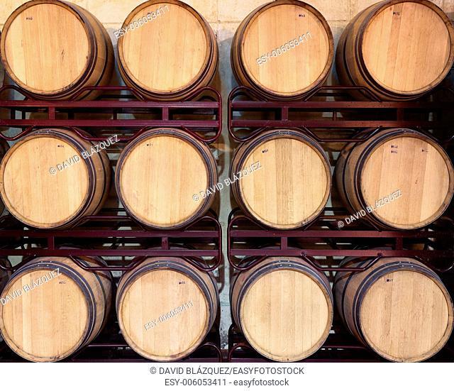 Wine barrels in a cellar. Castilla-La Mancha, Spain
