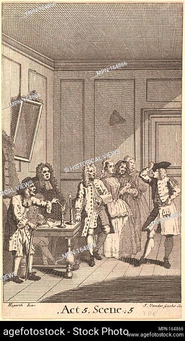 Frontispiece to Moliere's L'Avare (The Miser). Etcher: John Vandergucht (British, London 1697-possibly 1732 London); Artist: After William Hogarth (British