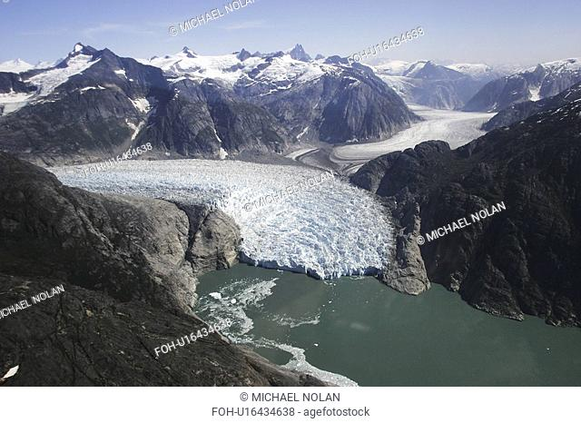 Aerial view of the Le Conte and Patterson Glaciers, the Stikine Ice Field, and the mountains surrounding the town of Petersburg, Southeast Alaska, USA