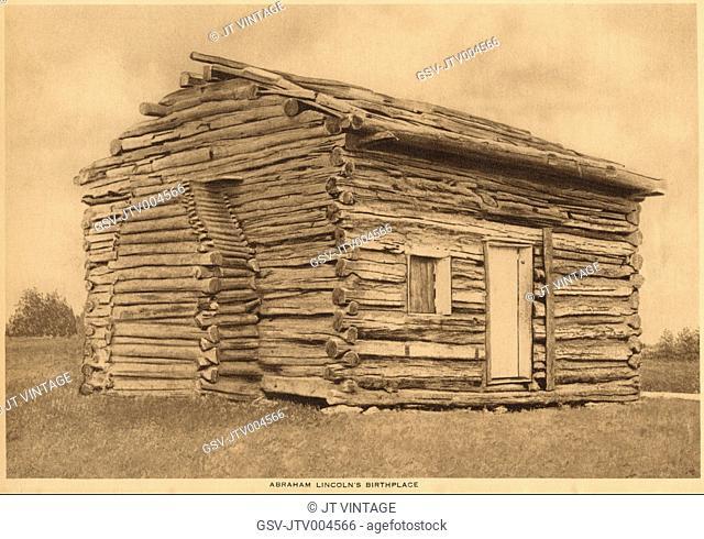 U.S. President Abraham Lincoln's Birthplace, Rock Spring Farm, Kentucky, USA, Illustrated Replica, 1914