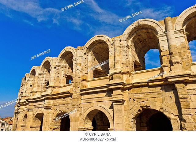 France,Roman amphitheatre, arcades, exterior view