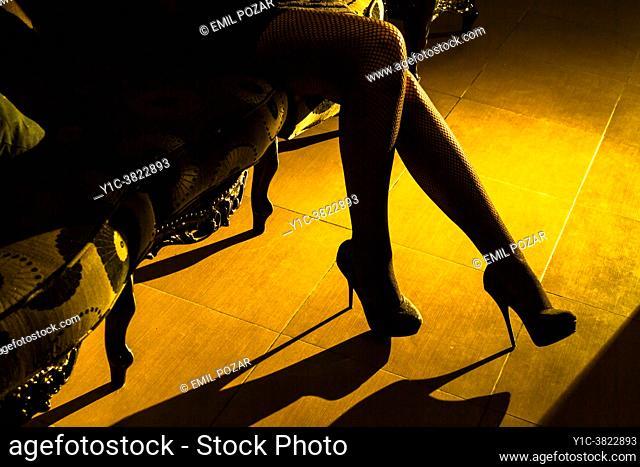 Attractive woman's legs in high-heels