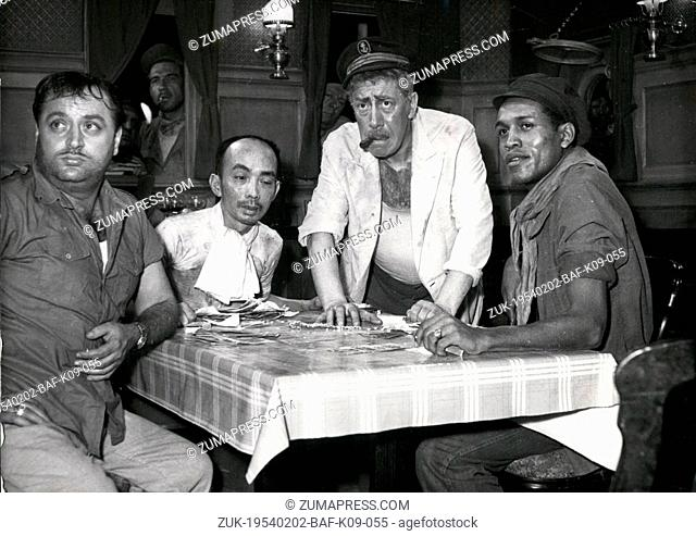Feb. 02, 1954 - Fernandel (standing center) as a captain of a ship in a new film 'Mouton a Cinq Pattes' now in the making at the Boulogne Studio