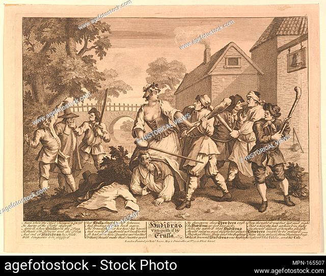 Hudibras Vanquished by Trulla (Twelve Large Illustrations for Samuel Butler's Hudibras, Plate 5). Artist: William Hogarth (British