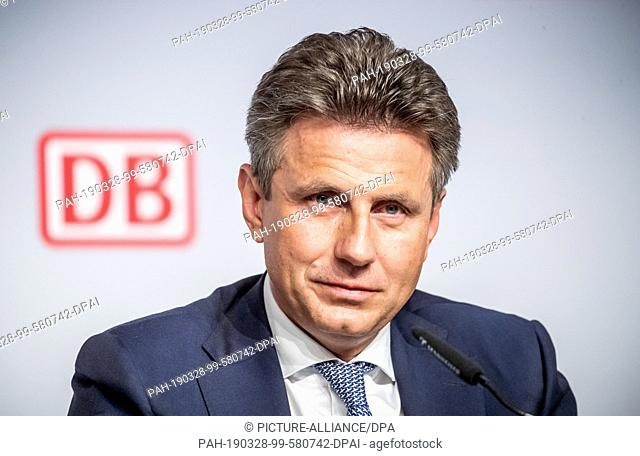28 March 2019, Berlin: Alexander Doll, Member of the Executive Board of Deutsche Bahn AG, attends the press conference on financial statements