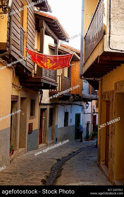 Traditional crochet parasols. Valverde de la Vera, La Vera, Caceres, Extremadura, Spain, Europe