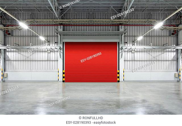 Shutter door or rolling door, red color, night scene