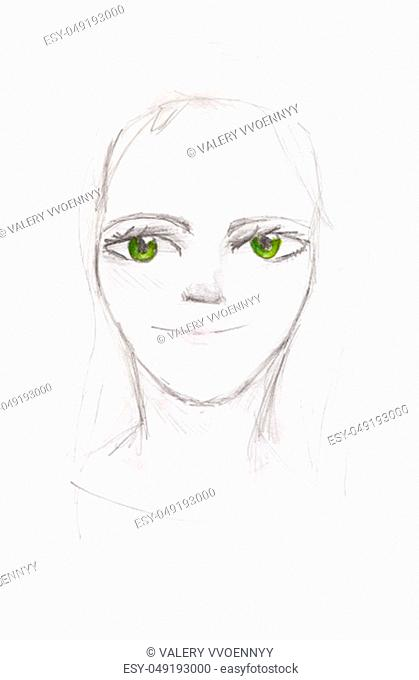 portrait of girl with green eyes hand-drawn by pencils on white paper