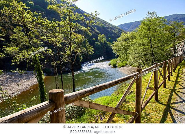 Pedestrian and bicycle path that runs along the banks of the river, Bidasoa River, Gipuzkoa, Basque Country, SpainBidasoa River, Gipuzkoa, Basque Country, Spain
