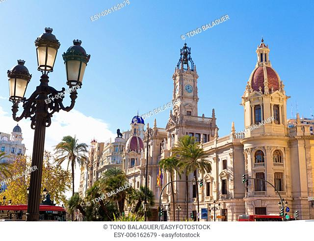 Valencia Ayuntamiento city town hall building and square in Spain
