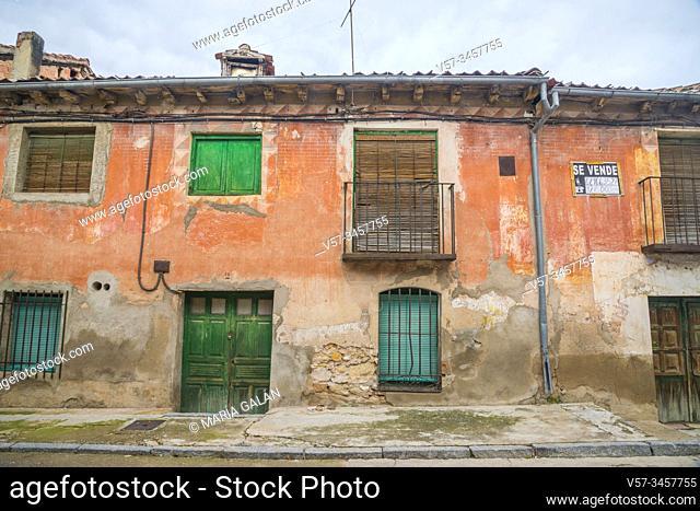 Facade of uninhabited house. Turegano, Segovia province, Castilla Leon, Spain