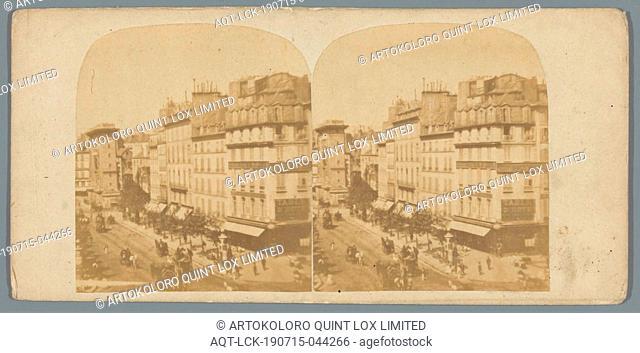 View of Boulevard Saint-Denis in Paris, street, gate, entrance, Boulevard Saint-Denis, anonymous, Paris, c. 1850 - c. 1880, photographic paper, cardboard