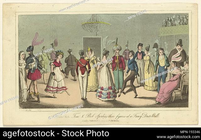 Almacks. Additional title: Tom & Bob sporting their figures at a fancy dress ball. Heath, William, 1795-1840 (Artist). Prints depicting dance Subjects