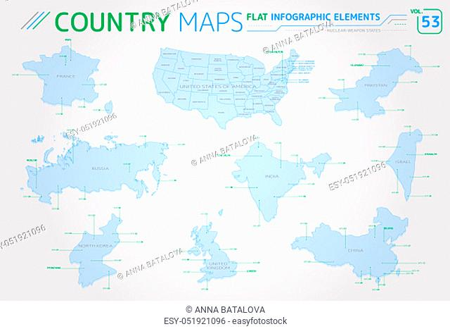 Flat vector maps collection with infographic elements
