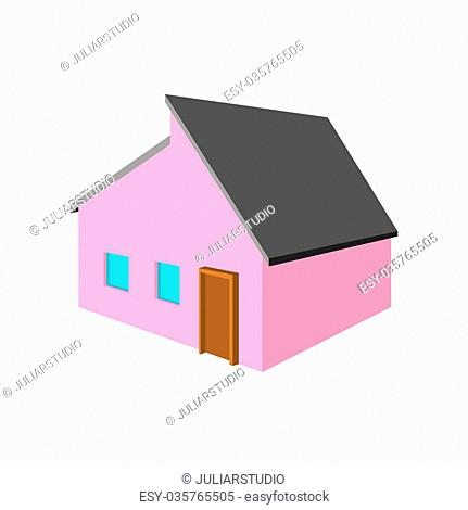 Pink small cottage cartoon icon on a white background