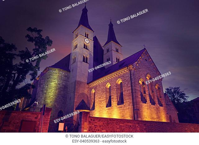 Nordhausen Holy Cross Cathedral sunset in Thuringia Germany