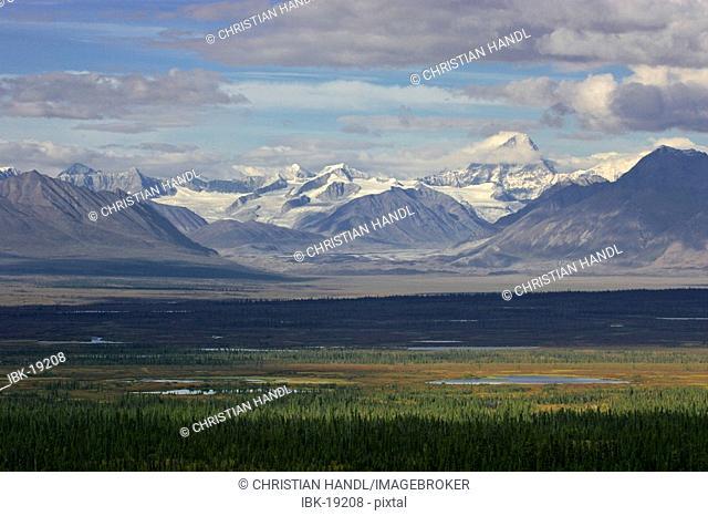 Mountains of the Alaska range viewed from the Denali Highway Alaska USA