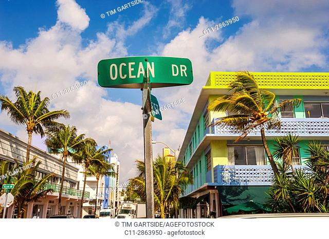 ocean drive road sign,l, South Beach, Ocean Drive,Miami, Florida, USA